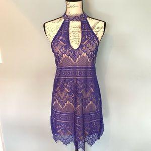 Midnight Doll Purple Lace Sleeveless Bodycon Dress